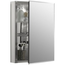 "20"" W x 26"" H aluminum single-door medicine cabinet with mirrored door, beveled edges"