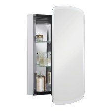 "Bancroft®  20"" W x 31"" H aluminum single-door medicine cabinet with mirrored door, beveled edges"