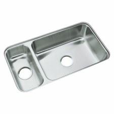 "McAllister® Undercounter High/Low Double-basin Kitchen Sink, 31-3/4"" x 17-1/2"""