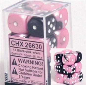 Dice Black-Pink w/White Gmni D6 (12) 16mm Dice Block
