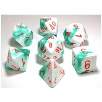 Dice Lab Dice Mint Green & White w/ Orange #s Gem. D7Set