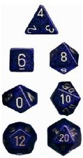 Dice Golden Cobalt Blue Spek 7D Set
