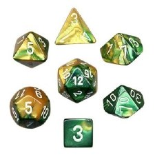 Dice Gemini Gold-Green w/White7-Die Set