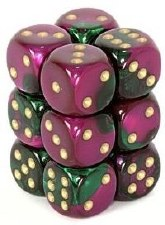 Dice Green-Purple w/White Gem16mm (12) Dice Block