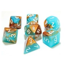 Dice Lab Dice Copper-Turquoisew/White #s Gem. Poly D7Set
