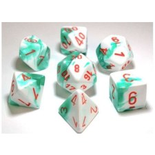 Dice Lab Dice Mint Green & White w/ Orange #s Gem. D7Set