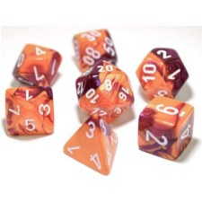 Dice Lab Dice Orange & Purplew/White Numbers Gemini Poly Se