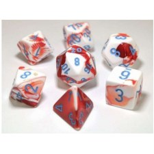 Dice Lab Dice Red & White w/Blue Numbers Gemini Poly Set (7)