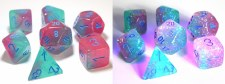 Dice Lab Dice Green & Pink w/Blue Numbers Black Light Gemini