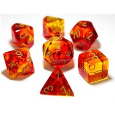 Dice Lab Dice Red & Yellow w/Gold Numbers Translucent Gemini