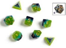 Dice Green/Blue Trans w/Gold #s 8D-Set