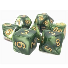 Dice Druids Summer Grass/PearlOpaque Poly. 16mm 7-Die S