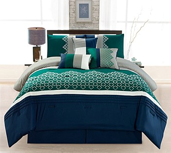 7-Piece Geometric Navy Green/Taupe/Ivory/Teal Embroidery Comforter Set - Cal King