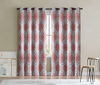 ARIELLA PRINTED BLACKOUT GROMMET PANEL 76X84 RED