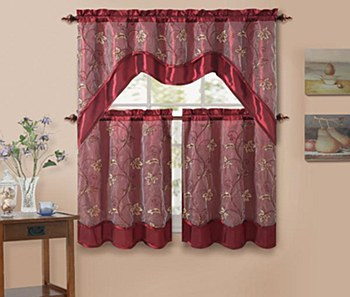 AUDREY 3PC Kitchen Curtain Set - Burgundy  BY VCNY