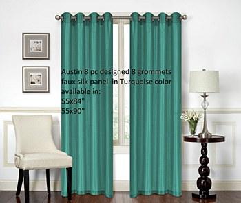 Austin Faux Silk Curtain 1 Panel 55X90 Turqoise by High Line Decor