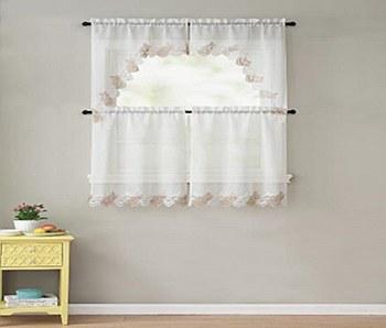 LANA 4PC Macrame Kitchen Curtain Set - Beige/Taupe