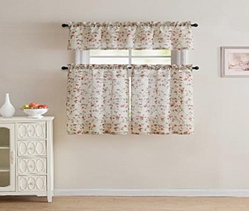 EMERIA POLY LINEN PRINTED KITCHEN CURTAIN SET-RED