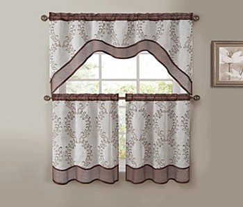 EverWood 3PC EMB. Kitchen Curtain - Chocolate