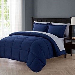 VCNY Home Lincoln 7-Piece Full Down Alternative Comforter Set In Navy - Full