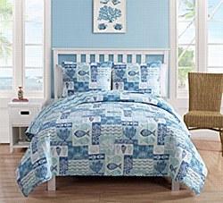 Sea life Patchwork 3-Piece Reversible Bedding Quilt - Queen