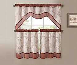 EverWood 3PC EMB. Kitchen Curtain - Cinnamon