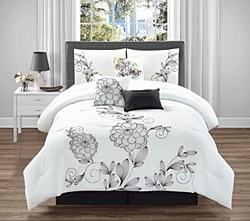 Paradise Flower Embroidery Charcoal Gray Ivory Chocolate 7-Piece Comforter Set - Cal King