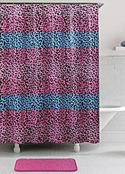 "Elegant Bath 14-Pc ""Leopard Fun"" Stripped PEVA Shower Curtain Set w/ Memory Foam Bath Rug"