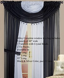 Miley Window in a Bag Sheer Panel Set with Valance Black/Silver by High Line Decor