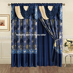 Natasha Panel Pair with Valance Navy 55x84 by High Line