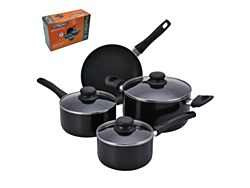 Proctor Silex 7PC Aluminum Cookware Set Non Stick Interior Black PAA601