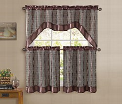 SABRINA  3PC KITCHEN CURTAIN - Choco/Gold
