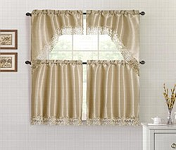THERESA 3PC Macrame Kitchen Curtain Set - Gold