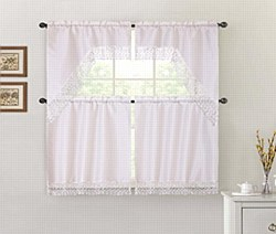 THERESA 3PC Macrame Kitchen Curtain Set - Ivory