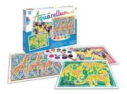 Aquarellum: Large Zebras, Giraffes & Panthers