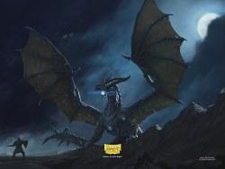 Dragon Shield Playmat w/Life Counter - Jet Dragon