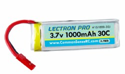 Lectron Pro 3.7V 1000mAh 30C Lipo Battery with JST Connector