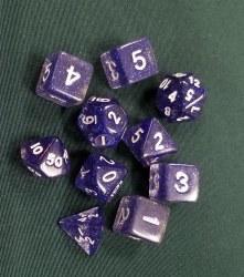 10-set Dice Glitter Purple White