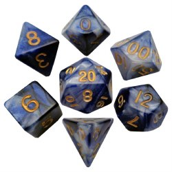 """7-set """"Combo Attack"""" Dice BU/WH w/Gold"""