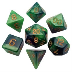 """7-set """"Combo Attack"""" Dice Green/Lt.Green w/Gold"""
