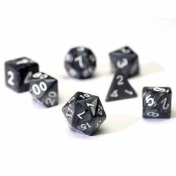 7 dice set of grey pearl resin