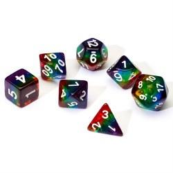 7 dice set of rainbow semi-transparent resin