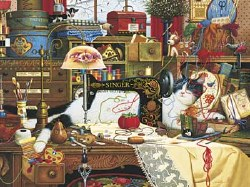 Charles Wysocki Cats Maggie Messmaker 750 pc