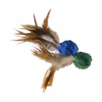 Crinkle Ball with Feathers Cat Toy 2pk
