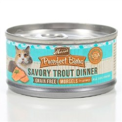 Purrfect Bistro Grain Free Morsels Savory Trout Dinner Canned Cat Food 3oz