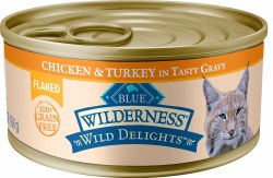 Wild Delights Flaked Chicken & Turkey Canned Cat Food 5.5oz