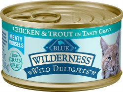 Wild Delights Meaty Morsels Chicken & Trout Canned Cat Food 3oz