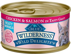 Wild Delights Meaty Morsels Chicken & Salmon Canned Cat Food 3oz