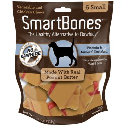 Peanut Butter Chew Dog Bone Small 6ct