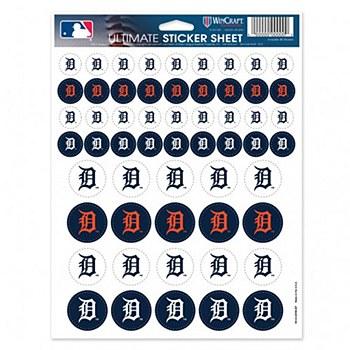 Detroit Tigers Decal Vinyl Logo Sticker Sheet 8.5'' x 11''